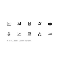 set of 10 editable statistic icons includes vector image