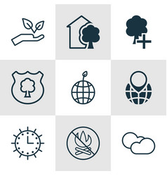 Set of 9 ecology icons includes house fire vector
