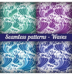 Set of seamless patterns - waves Abstract vector image