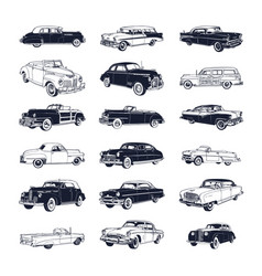 Set old vintage car isolated on white vector