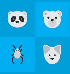 Set simple fauna icons vector