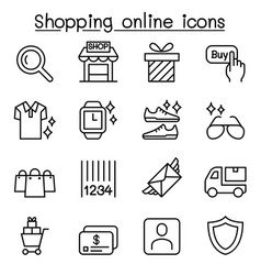 shopping online icon set in thin line style vector image