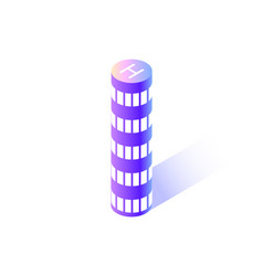 skyscraper of rounded shape city isolated icon vector image