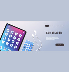 social media mobile application icons creative ui vector image