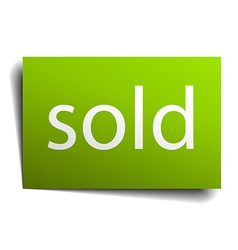 Sold square paper sign isolated on white vector