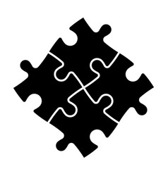 Solved jigsaw puzzle four black pieces team vector