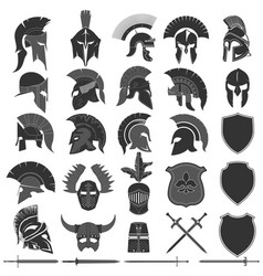 Spartan helmet logo set greek warrior spartan vector
