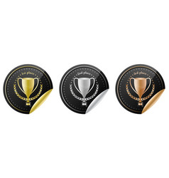 sport trophy icons for the first place second vector image