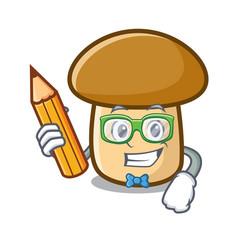 Student porcini mushroom character cartoon vector