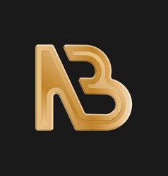 Stylized lowercase letters n and b connected vector