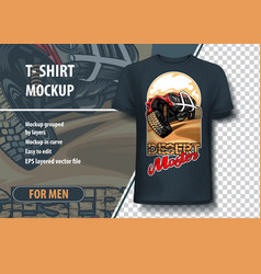 T-shirt mock-up template with suv on desert hills vector