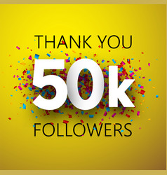 thank you 50k followers card with colorful vector image