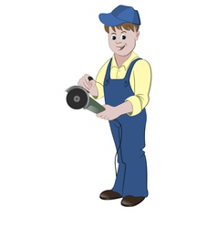 The repairman standing with a angle grinder or saw vector image vector image
