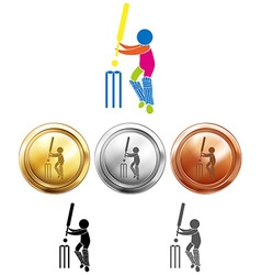 Three medals design for cricket vector image