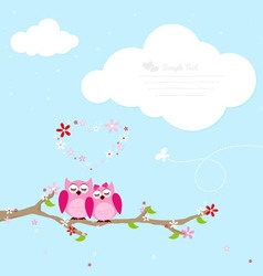 Two pink owl in love vector image vector image