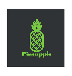Two tone assymmetric graphic pineapple logo vector