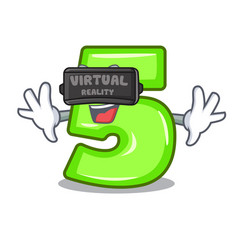 virtual reality number five isolated on the mascot vector image