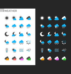 weather icons light and dark theme vector image