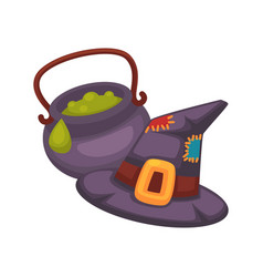 Witch violet hat and pot with porridge on white vector