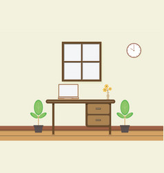 workplace with computer near window vector image vector image