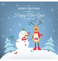 year happy snowman and deer vector image