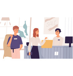 young people in outlet shop purchasing clothes vector image