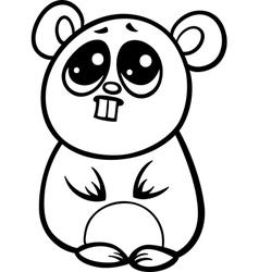 cartoon kawaii hamster coloring page vector image