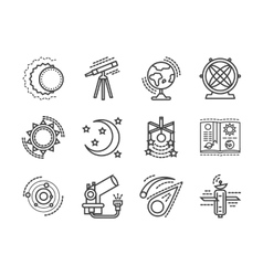 Flat line space research icons vector image vector image