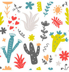 floral seamless pattern with colorfulwild cactus vector image vector image