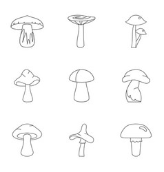 fresh mushroom icon set outline style vector image