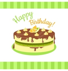 Happy birthday cake with citrus fruits isolated vector