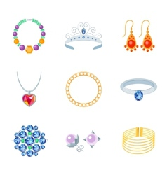 Jewelry Icons Flat vector image vector image