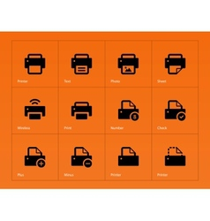 Printer icons on orange background vector image vector image