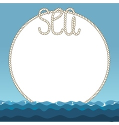 Sea waves and marine ropes frame vector image vector image