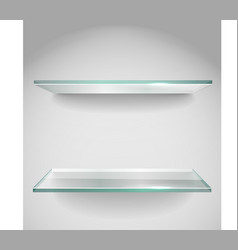 Two empty advertising glass shelves with spot lign vector