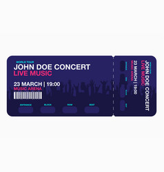 concert ticket template concert party or festival vector image vector image