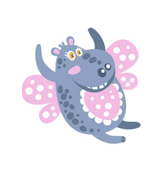 cute cartoon smiling hippo character flying like a vector image vector image