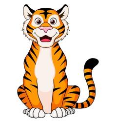 Cute tiger cartoon sitting vector image vector image