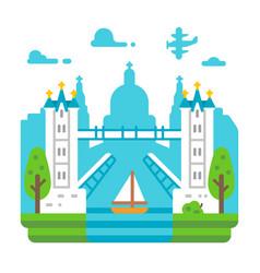 flat design tower bridge london vector image vector image