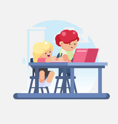 little girl schoolgirl and boy schoolboy doing vector image