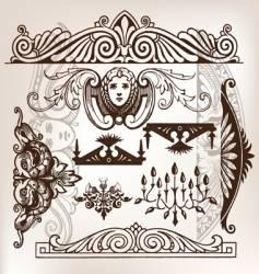 set of vintage frame traced vector image vector image