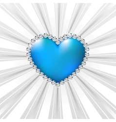 Shiny crystal love hearts on silver line vector image vector image