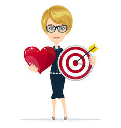 target arrow icon and loving heart vector image
