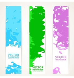 Vertical abstract handdrawing by ink banner set vector image