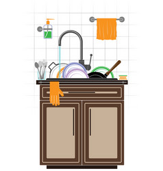 a mountain of dirty unwashed dishes in the sink in vector image