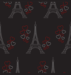 Eiffel tower and hearts seamless pattern vector