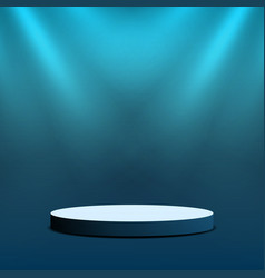 empty stage podium round stage with lighting for vector image