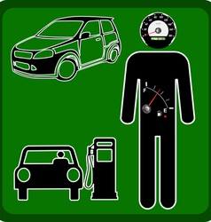 man icon with the fuel gauge in my stomach and spe vector image vector image