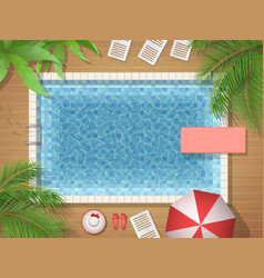 swimming pool and palm top view vector image vector image