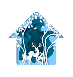 abstract nature house with deer and tree paper vector image